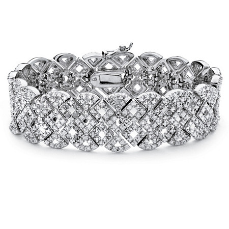 3/8 TCW Diamond Vintage-Inspired Openwork Tennis Bracelet in Silvertone at PalmBeach Jewelry