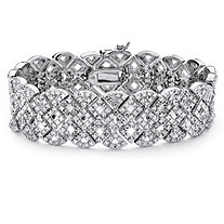 SETA JEWELRY 3/8 TCW Diamond Vintage-Inspired Openwork Tennis Bracelet in Silvertone