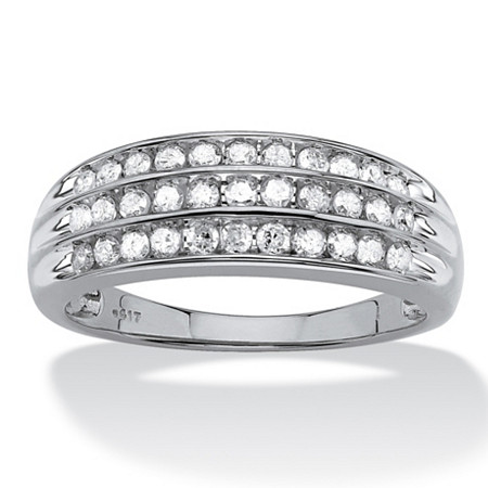 1/2 TCW Round Channel-Set Diamond Triple-Row Band in 10k White Gold at PalmBeach Jewelry