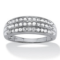 1/2 TCW Round Channel-Set Diamond Triple-Row Band in 10k White Gold