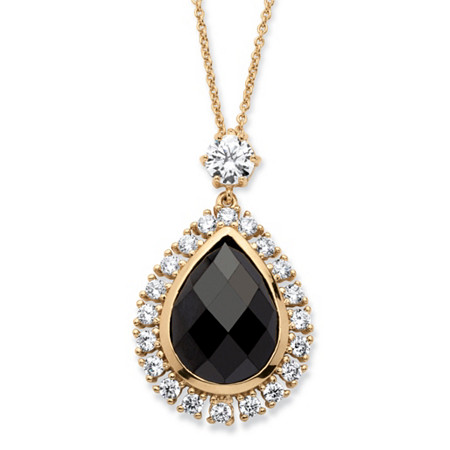 13.84 TCW Black Checkerboard-Cut Cubic Zirconia Bezel-Set Halo Necklace 14k Yellow Gold-Plated at PalmBeach Jewelry