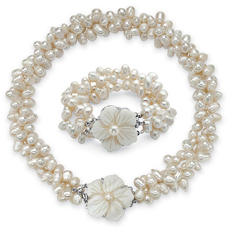 "Oval Genuine Cultured Freshwater Pearl (7x9mm) Flower Necklace and Bracelet Set in Silvertone, 18"" at PalmBeach Jewelry"