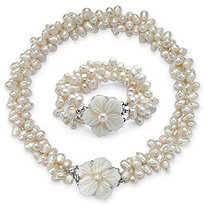 Oval Genuine Cultured Freshwater Pearl (7x9mm) Flower Necklace and Bracelet Set in Silvertone, 18