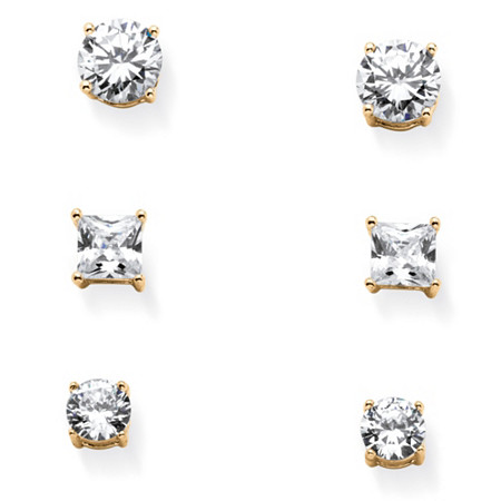 9.20 TCW Cubic Zirconia Three-Pair Set of Stud Earrings in 14k Gold over Sterling Silver at PalmBeach Jewelry