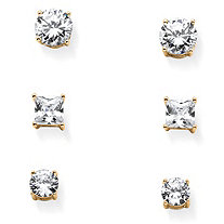 9.20 TCW Cubic Zirconia Three-Pair Set of Stud Earrings in 14k Gold over Sterling Silver