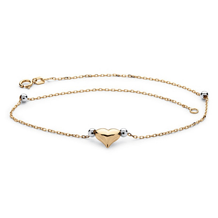 Puffed Heart Two-Tone Ankle Bracelet in 14k Gold at PalmBeach Jewelry