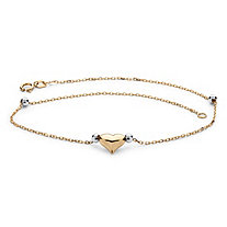 Puffed Heart Two-Tone Ankle Bracelet in 14k Gold