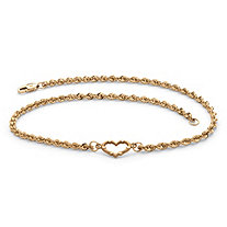 Diamond-Cut Open Heart Ankle Bracelet in Solid 14k Yellow Gold