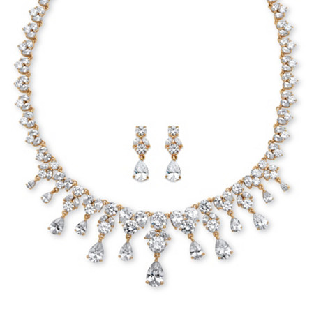 63.38 TCW Heart and Pear-Cut Cubic Zirconia Necklace and Earrings Two-Piece Set 14k Gold-Plated at PalmBeach Jewelry