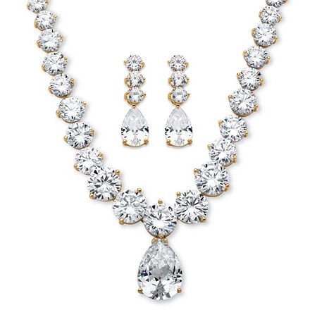 79.40 TCW Pear-Drop and Round Cubic Zirconia Necklace and Earrings Set 14k Gold-Plated at PalmBeach Jewelry