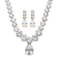 Cubic Zirconia Necklace And Earrings Set ONLY $89.99