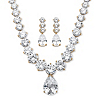 Related Item 79.40 TCW Pear-Drop and Round Cubic Zirconia Necklace and Earrings Set 14k Gold-Plated