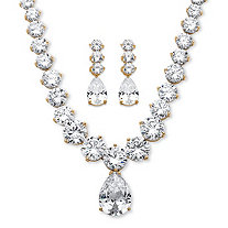 79.40 TCW Pear-Drop and Round Cubic Zirconia Necklace and Earrings Set 14k Gold-Plated