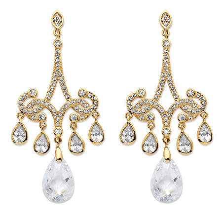 15 TCW Pear-Cut Cubic Zirconia Chandelier Earrings 14k Gold-Plated at PalmBeach Jewelry