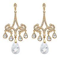 Pear-Cut CZ Chandelier Earrings 14k Gold-Plated ONLY $24.99