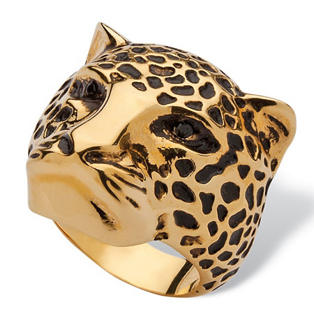 Black Pave Crystal Leopard Fashion Ring 14k Yellow Gold-Plated at PalmBeach Jewelry