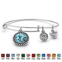 Birthstone Charm Bangle Bracelet MADE WITH SWAROVSKI ELEMENTS in Antique Silvertone