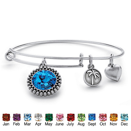 Birthstone Charm Bangle Bracelet MADE WITH SWAROVSKI ELEMENTS in Antique Silvertone at PalmBeach Jewelry