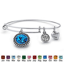 SETA JEWELRY Birthstone Charm Bangle Bracelet MADE WITH SWAROVSKI ELEMENTS in Antique Silvertone
