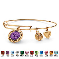 SETA JEWELRY Birthstone Charm Bangle Bracelet MADE WITH SWAROVSKI ELEMENTS in Antiqued Gold Tone