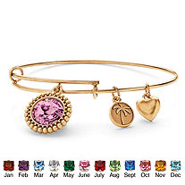 Birthstone Charm Bangle Bracelet MADE WITH SWAROVSKI ELEMENTS in Antiqued Gold Tone