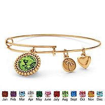 Birthstone Charm Bangle Bracelet MADE WITH SWAROVSKI ELEMENTS in Antiqued Gold Tone