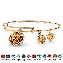 Birthstone Charm Bangle Bracelet MADE WITH SWAROVSKI ELEMENTS in Antique Gold Tone