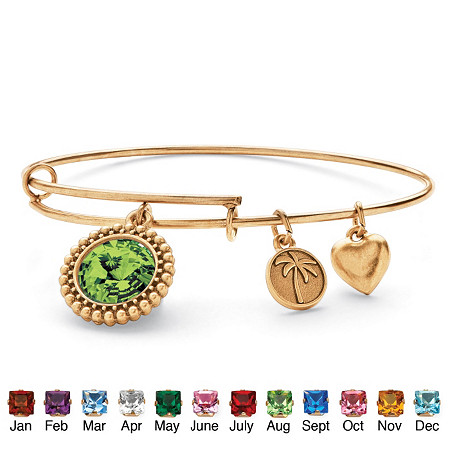 Birthstone Charm Bangle Bracelet MADE WITH SWAROVSKI ELEMENTS in Antiqued Gold Tone at PalmBeach Jewelry