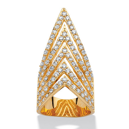 3.20 TCW Round Cubic Zirconia Multi-Row Chevron Cocktail Ring 14k Yellow Gold-Plated at PalmBeach Jewelry