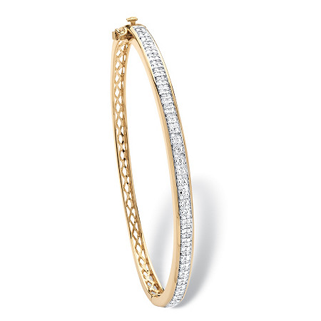 3/8 TCW Diamond Latticework Bangle Bracelet 18k Yellow Gold-Plated at PalmBeach Jewelry