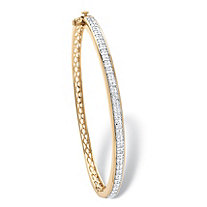 SETA JEWELRY 3/8 TCW Diamond Latticework Bangle Bracelet 18k Yellow Gold-Plated