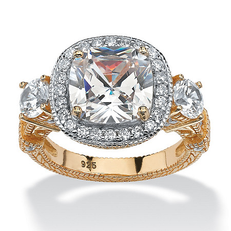 4.28 TCW Cushion-Cut Cubic Zirconia Halo Filigree Ring in 14k Yellow Gold over Sterling Silver at PalmBeach Jewelry