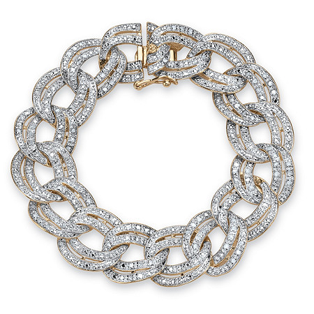 7/8 TCW Diamond Double Rolo-Link Bracelet 18k Yellow Gold-Plated at PalmBeach Jewelry