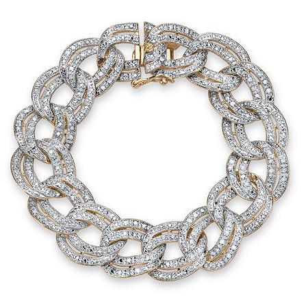 7/8 TCW Diamond Double Rolo-Link Bracelet 18k Yellow Gold-Plated at PalmBeach Jewelry