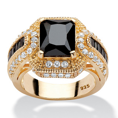 5.81 TCW Emerald-Cut Black Cubic Zirconia Ring in 14k Yellow Gold over Sterling Silver at PalmBeach Jewelry