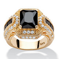 SETA JEWELRY 5.81 TCW Emerald-Cut Black Cubic Zirconia Ring in 14k Yellow Gold over Sterling Silver