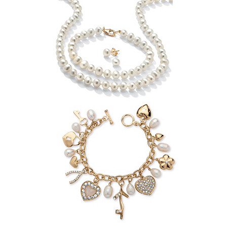 Genuine Cultured Freshwater Pearl 3-Piece Set in 14k Gold over Sterling Silver with FREE Genuine Pearl Fashion Charm Bracelet at PalmBeach Jewelry