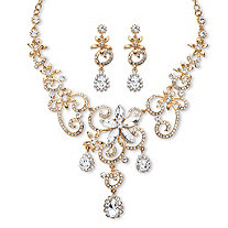 Pear and Marquise-Cut White Crystal Scroll Necklace and Earrings Set in Gold Tone