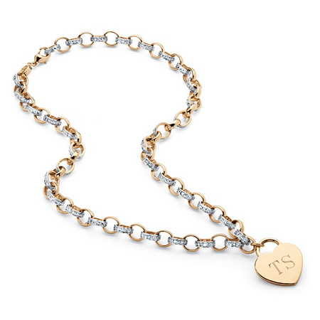 Diamond Accent 18k Yellow Gold-Plated Personalized Heart Rolo-Link Necklace at PalmBeach Jewelry