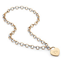 "Diamond Accent Personalized Heart Rolo-Link Necklace 18"" 18k Yellow Gold-Plated"