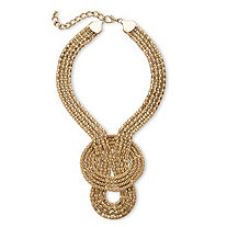 Snake-Link Draping Multi-Strand Rope Necklace in Gold Tone