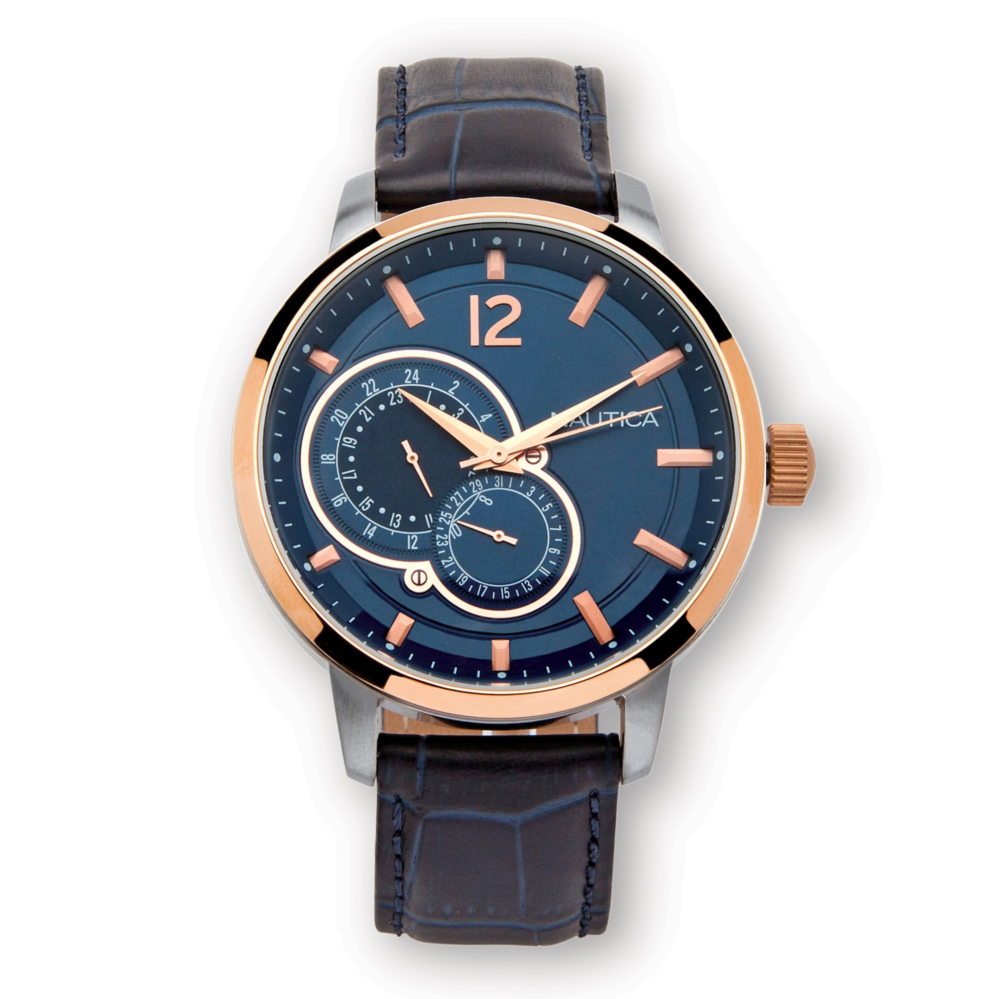 Men 39 s nautica water resistant watch in stainless steel 8 length leather band at palmbeach jewelry for Watches clearance