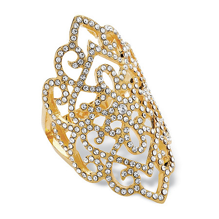 Round Pave Crystal Openwork Scroll Cocktail Ring MADE WITH SWAROVSKI ELEMENTS 14k Gold-Plated at PalmBeach Jewelry