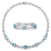 "24 TCW Genuine Emerald-Cut Blue Topaz Two-Piece 17"" Necklace and 7"" Bracelet Set in Silvertone"