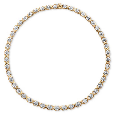 "1/4 TCW Diamond ""X and O"" Necklace in 18k Yellow Gold-Plated at PalmBeach Jewelry"