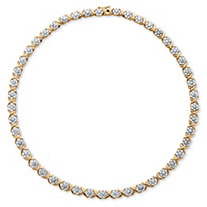 "1/4 TCW Diamond ""X and O"" Necklace in 18k Yellow Gold-Plated"