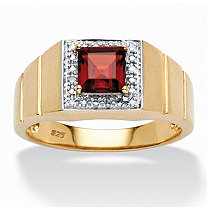 Men's 1.30 TCW Genuine Square-Cut Garnet and Diamond Accent Ring in 18k Gold over Sterling Silver