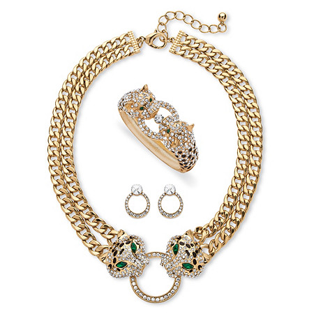 Pave Crystal and Simulated Emerald 3-Piece Necklace, Earrings and Bangle Leopard Set 2.72 TCW in Gold Tone at PalmBeach Jewelry