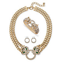 Pave Crystal and Simulated Emerald 3-Piece Necklace, Earrings and Bangle Leopard Set 2.72 TCW in Gold Tone