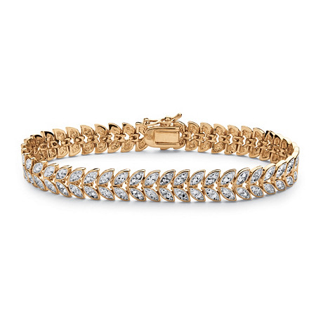 Diamond Accent Marquise-Shaped Leaf Motif Bracelet in 18k Yellow Gold-Plated at PalmBeach Jewelry